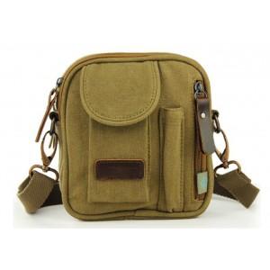 khaki Small canvas messenger bags for men