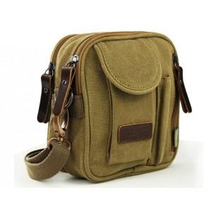 khaki small canvas satchel