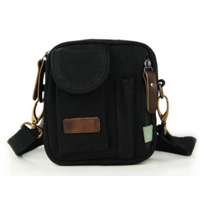 black Small canvas messenger bags for men